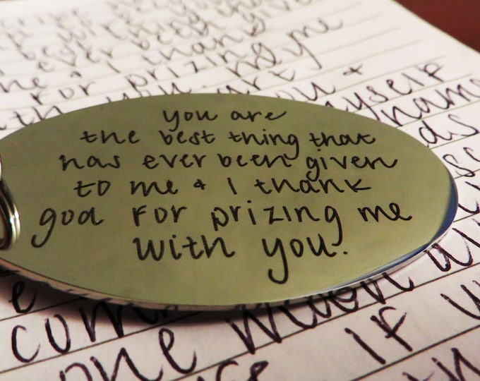 Handwritten Keychain - Font Text or Actual Handwriting - Gift for Her or Him Stainless Steel