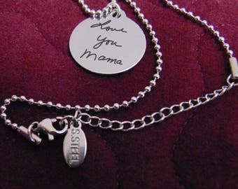 "Your Handwriting On A Brushed Stainless Steel Round Pendant Necklace (7/8"") Your Writing Personalized"