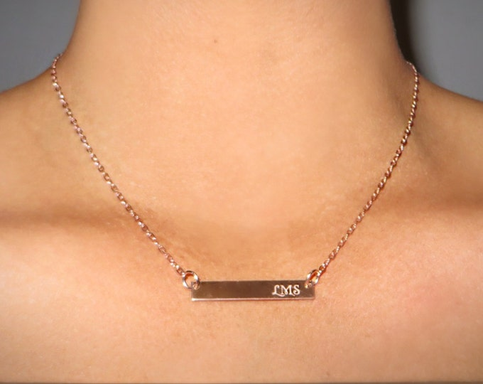 "Your Handwriting Bar Necklace (1.2"" x .2"") Rose Gold Yellow Gold Sterling Silver Personalized Bar Necklace"