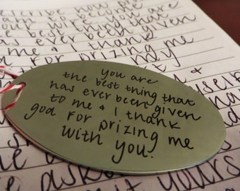 Handwritten Brushed Steel Christmas Ornament Your Handwriting (up to 30 characters)