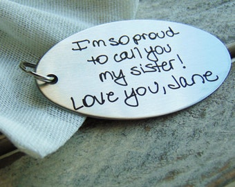 Custom Engraved Key chain - Font Text or Actual Handwriting Christmas gift