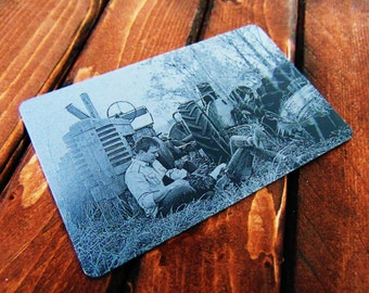 Engraved Wallet Insert With Picture Personalized Custom Etched on Anodized Aluminum Christmas gift