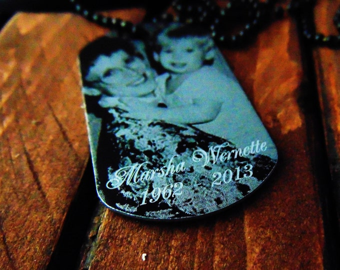 Picture On Dog Tag with Personal Message on Back -Your Handwriting Or Text Option - Christmas gift