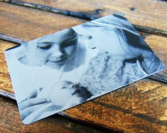 Photo Engraved On  A Wallet Insert With Picture Personalized Custom Etched Anodized Aluminum