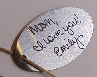 Your Hand Writing Custom, Personal Message on Key chain - Actual Handwriting Laser Engraved - Oval Keychain great gift