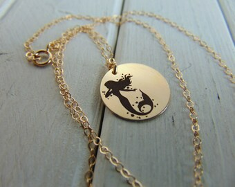 Mermaid Necklace with your name engraved in front. Personalize Custom