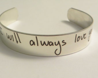 """Handwritten Stainless Steel Bracelet .5"""" x 6"""" Your Handwriting Personalized Custom Unique Christmas gift"""