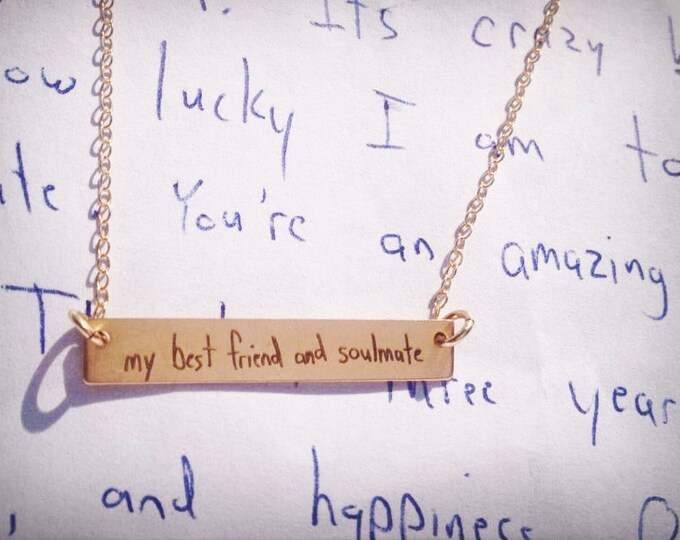 """Handwritten Bar Necklace (1.2"""" x .2"""") Your Handwriting Rose Gold Yellow Gold Sterling Silver"""