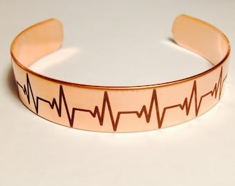 Copper Heartbeat Bracelet Unique Satin Finish,Custom Text, Girlfriend, Mom, Wife, Grandma