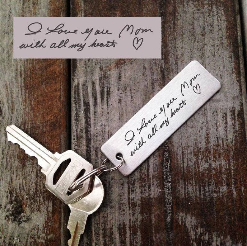 Signature Key chain-Actual Handwriting-Laser Engraved-Brushed image 0