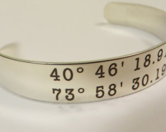 """GPS Coordinates Stainless Steel Bracelet 6"""" X .5"""" Personalized Custom Text,College student,"""
