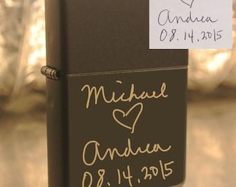 Personalized or Handwritten Black Zippo Lighter Great Groomsman Gift Custom Unique Lighter great gift- beautiful item!