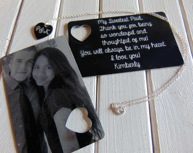 Picture Wallet Card with Heart Cutout, Heart Necklace- Photo on Front,