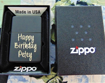 Black Zippo Lighter Customized in Hand Writing or Computer Font Just for You! Groomsman Gift Custom Unique great gift- beautiful item!