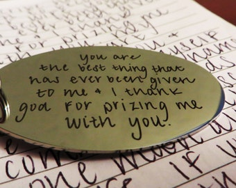 Count 3:  Handwritten Brushed Steel Key chains - Your Handwriting - Laser Engraved
