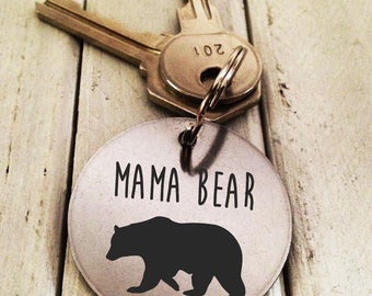 Mama Bear Key chain Stainless Steel- Handwritten Engraved Brushed Stainless Steel Christmas gift