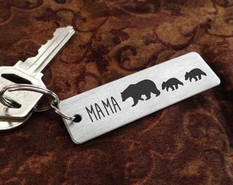 MAMA Bear Key chain + Baby Cubs  -  Laser Engraved - Brushed Stainless Steel Christmas Gift-