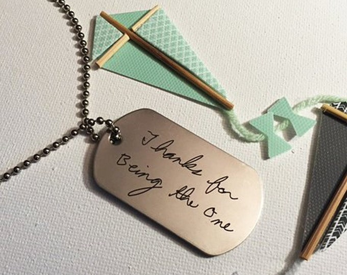 Handwritten Stainless Steel Dog Tag Your Handwriting (up to 30 characters) Actual Handwriting