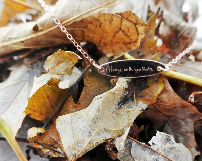 """Handwritten Yellow Gold Rose Gold or Sterling Silver Oval Necklace (.950"""" x .250"""")Girlfriend."""