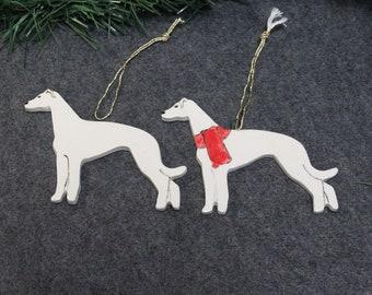 White Greyhound Dog Ornament