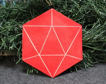 Large Red Hexagon D20 Ornament