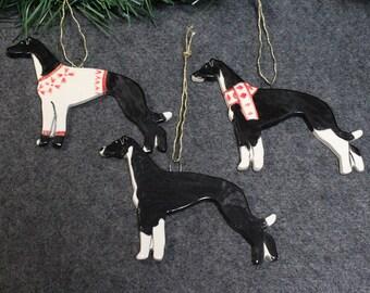 Black Greyhound Dog Ornament