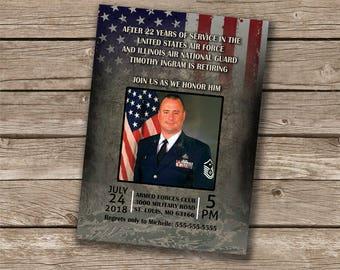 military retirement invitations etsy