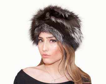 f75def01794 Silver fox fur hat. Fox fur hat. Fur hat. Hat. Women s fur hat. Women s hat.  Women s silver fox her hat. Gift for her. Gift for women.