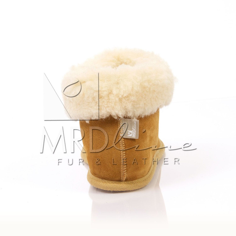Fait à la main de unisexe tabac bottines fourrure pantoufles en peau de main mouton. laine et cuir de Suède. Elégant, chaud et confortable d9f2d4