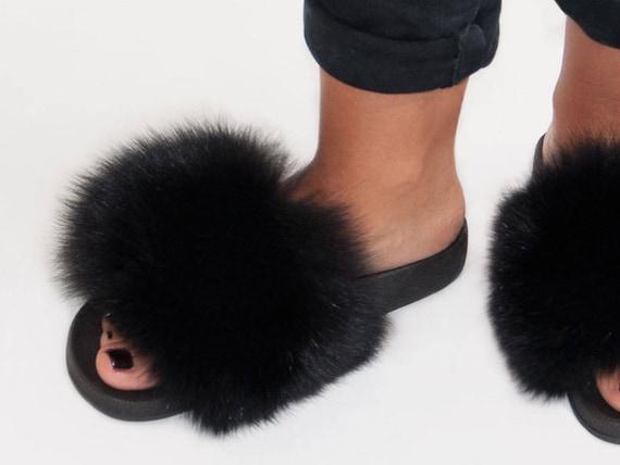 Christmas gift women/'s slippers beach flip flops birthday gift Super Fluffy Green Fox Fur Slides