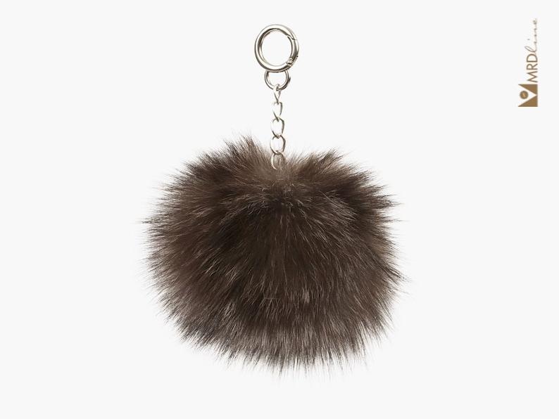 Fur Pom Pom Bag Charm Fur Pom Pom Fur Pom Pom Keychain Slver Fox Fur Pom Bag Charm Fur Bag Charm Fur Keychain Fur Car Keychain