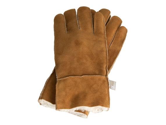 13254e5b8a69e Handmade tobacco brown sheepskin gloves.Unisex. Soft, warm and breathable.