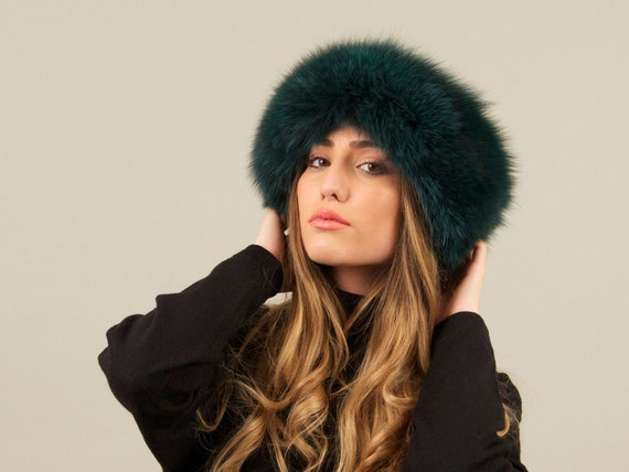 Handmade Green Fox Fur Headband Fox Fur Headband Fur  794320e7cc7