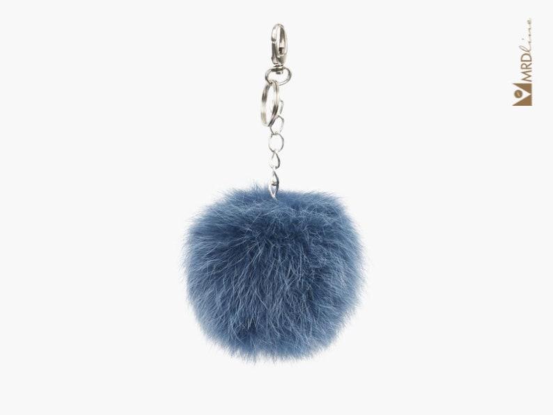 Fur Pom Pom Keychain Blue Fox Fur Pom Bag Charm Fur Pom Pom Bag Charm Fur Keychain Fur Car Keychain Fur Pom Pom Fur Bag Charm