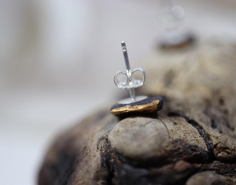 modern earrings minimalist earring black porcelain earrings gift for her black stud earrings Earrings black porcelain and gold 12 kt