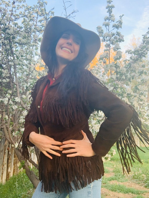 FRINGE SUEDE JACKET Fit Xs To Medium Cowgirl