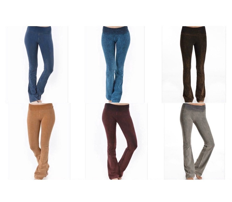 6 PAIR YOGA Pant Bundle Deal Mineral Wash Colors Small To xlarge 98/% Cotton 2 SPandex