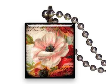 Soft Pink Wild Rose - Reclaimed Scrabble Tile Pendant Necklace