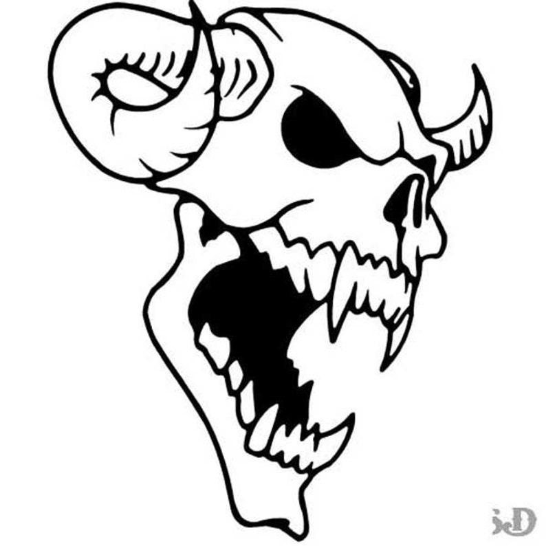 Demon Skull Horns Vinyl Decal Sticker 8 X 9 75