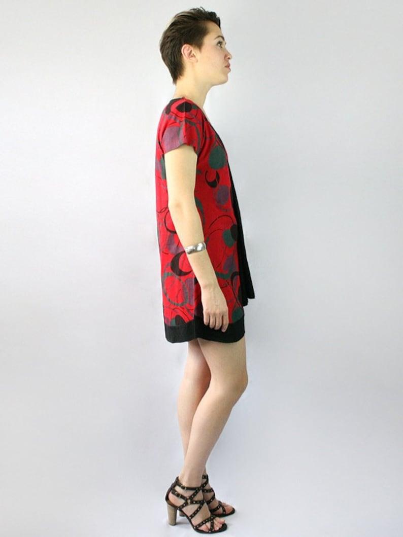 Flower print V neck cotton tunic