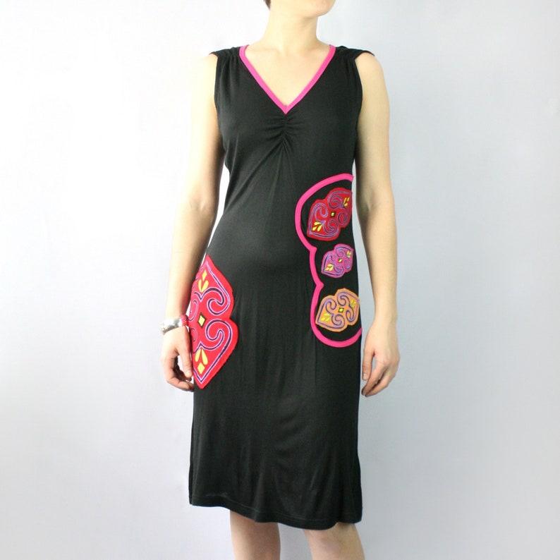 V Neck Viscose Dress pink and black so comfy!