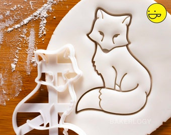 Fox Sitting cookie cutter   Bakerlogy biscuit cutters enchanted forest whimsical animal baby shower birthday party woodland creature