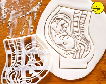 Pregnant Womb with Fetus cookie cutter | anatomy physiology medicine cookies | pregnancy announcement doctor nurse obstetrics gynecology O&G