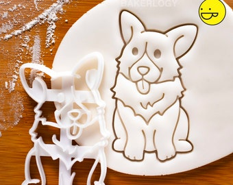 Happy Corgi cookie cutter | cute fluffy profile Pembroke Welsh dog butts biscuit fondant clay コーギー 코기 one of a kind ooak |Bakerlogy