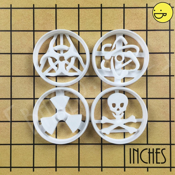 Toxic Symbol Cookie Cutter Choice of Sizes Skull and Cross Bones 3D Printed