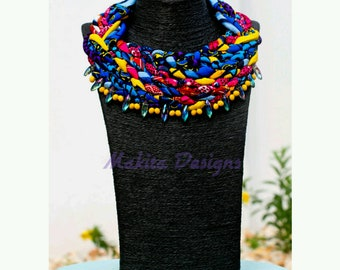 Boatemaa -fabric neckpiece - beads neckpiece- Statement piece- Ankara Neckpiece- women  - gift