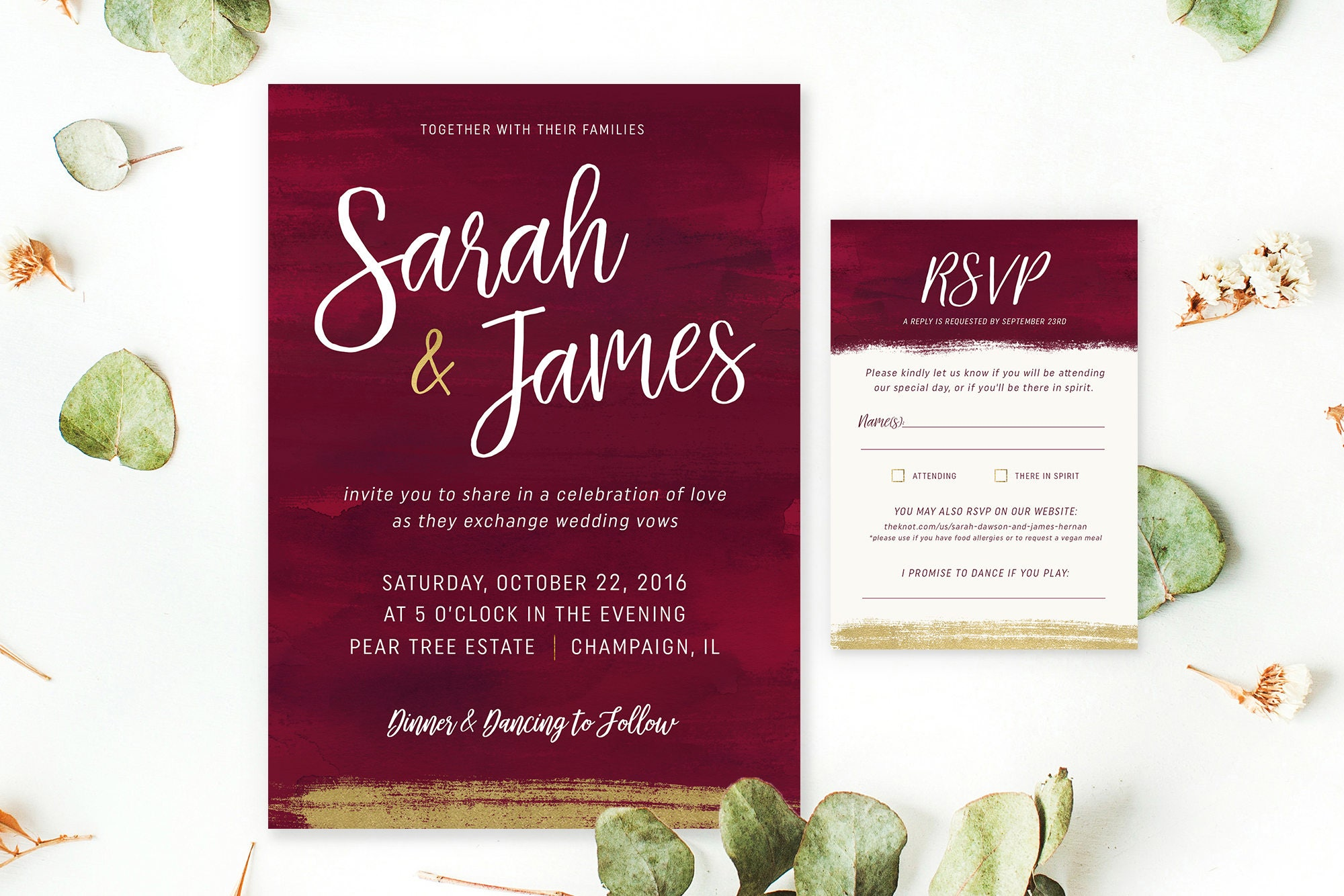 PRINTABLE Custom Wedding Invite & RSVP Gold Burgundy Wedding | Etsy