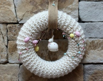 Knitted Easter Wreath. knitted decoration Easter Bunny wreath with decorative eggs. Heirloom Easter Decoration. One of a kind wreath. ooak