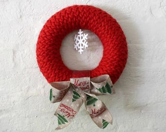 Unusual Red Knitted Christmas Wreath. One of a kind Holiday Decor. Heirloom Christmas decoration