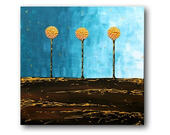 """Metal Wall Art, Teal painting, Abstract Tree Wall Art, Abstract Tree Painting, Textured Impasto Palette Knife, """"Teal"""" 24x24"""" by SFBFineArt"""